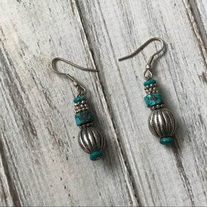 Jewelry - Turquoise stone and silver beaded pierced earrings